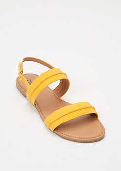 Yellow Double Band Ankle Strap Sandals
