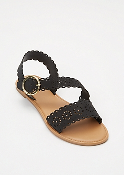 Black Eyelet Cutout Crisscross Strap Sandals