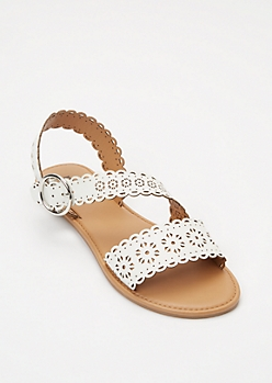 White Eyelet Cutout Crisscross Strap Sandals