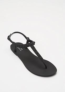 Black Studded Matte T Strap Sandals
