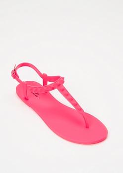 Neon Fuchsia Studded Matte T Strap Sandals