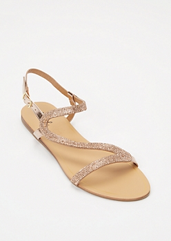 Rose Gold Rhinestone Glitz Strap Sandals