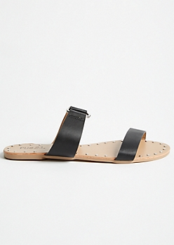 Black Ring Strap Studded Slides