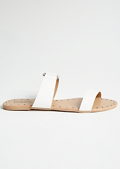 White Ring Strap Studded Slides