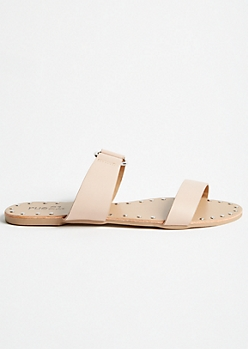 Nude Ring Strap Studded Slides