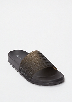Black Jelly Slide Sandals