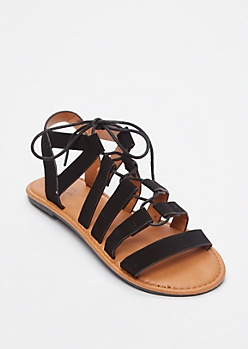 Black Crisscross Gladiator Sandals