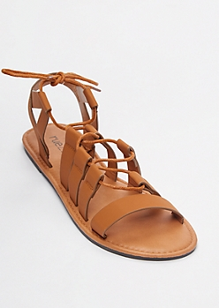 Cognac Crisscross Gladiator Sandals