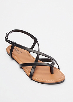 Black Buckled Crisscross Strap Flip Flops