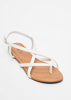 White Buckled Crisscross Strap Flip Flops