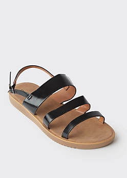 Black Triple Band Strappy Sandals