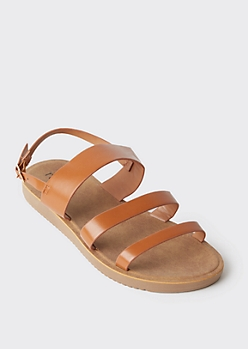 Cognac Triple Band Strappy Sandals