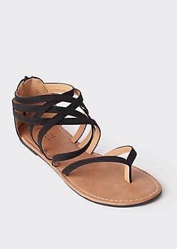 Black Lattice Strap Flat Thong Sandals