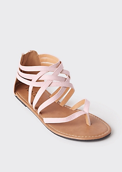 Light Pink Lattice Strap Flat Thong Sandals