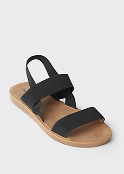 Black Elastic Slingback Slide Sandals