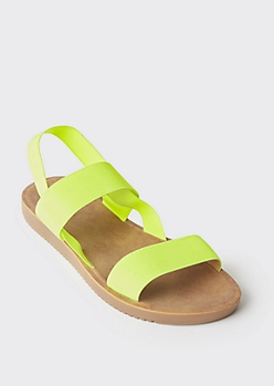 Neon Yellow Elastic Slingback Slide Sandals
