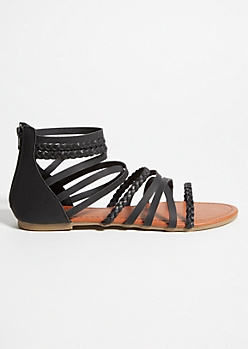 Black Braided Strappy Gladiator Sandals