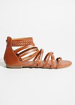 Cognac Braided Strappy Gladiator Sandals