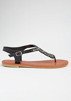 Black Beaded Horseshoe T Strap Sandals