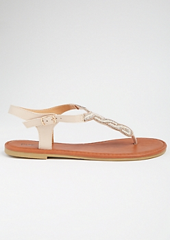 Nude Beaded Horseshoe T Strap Sandals
