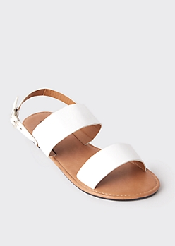 White Strappy Slingback Sandals