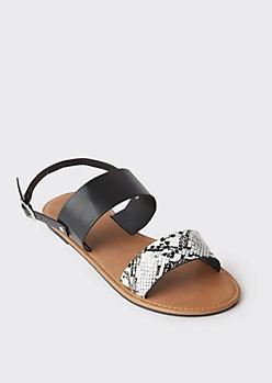 Snakeskin Print Strappy Slingback Sandals