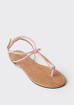 Pink Looped Faux Suede T Strap Sandals