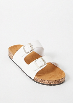 White Double Buckle Strap Sandals
