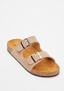 Taupe Double Buckle Strap Sandals