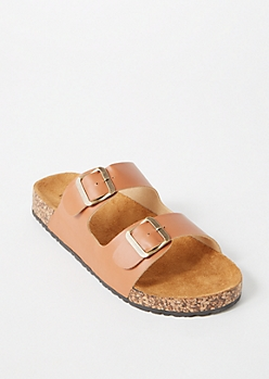 Cognac Double Buckle Strap Sandals