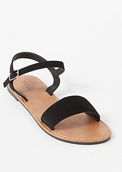 Black Ankle Buckle Single Strap Sandals