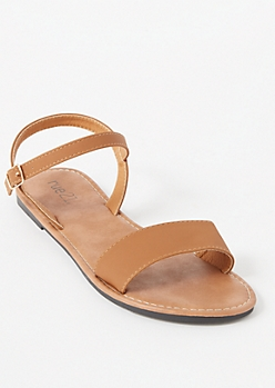 Cognac Ankle Buckle Single Strap Sandals