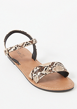 Snakeskin Print Ankle Buckle Single Strap Sandals