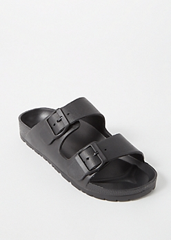 Black Double Strap Slide On Sandals