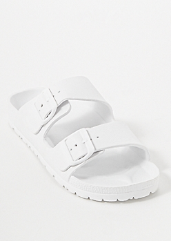 White Double Strap Slide On Sandals