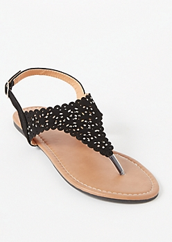 Black Eyelet Cutout T Strap Sandals