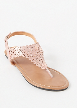 Rose Gold Eyelet Cutout T Strap Sandals