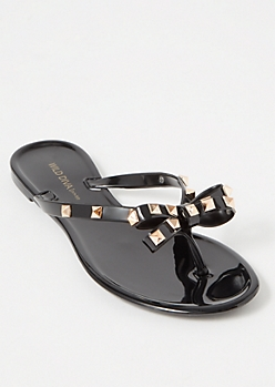 Black Bow Studded Flip Flops