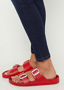 Red Strappy Jelly Sandals