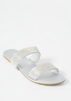 Silver Double Strap Rhinestone Sandals