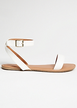 White Faux Leather Ankle Wrap Sandals