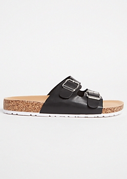 Black Double Buckle Gore Slip On Sandals