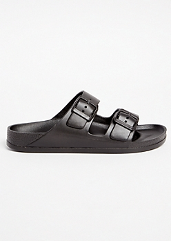 Black Double Buckle Slip On Sandals