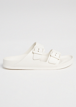 White Double Buckle Slip On Sandals