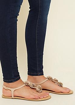 Taupe Floral Rosette T Strap Sandals