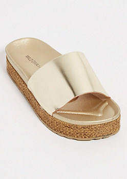 Gold Metallic Platform Slides