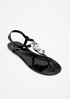 Black Gemstone Jelly T Strap Sandals