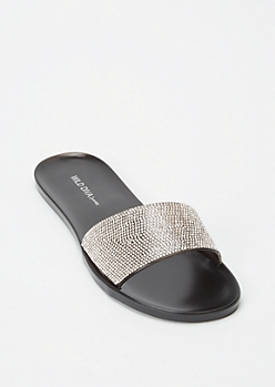 Black Rhinestone Strap Jelly Slide Sandals