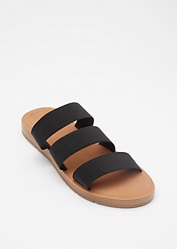 Black Elastic Triple Band Slide Sandals