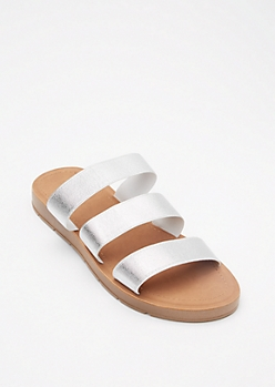 Silver Elastic Triple Band Slide Sandals